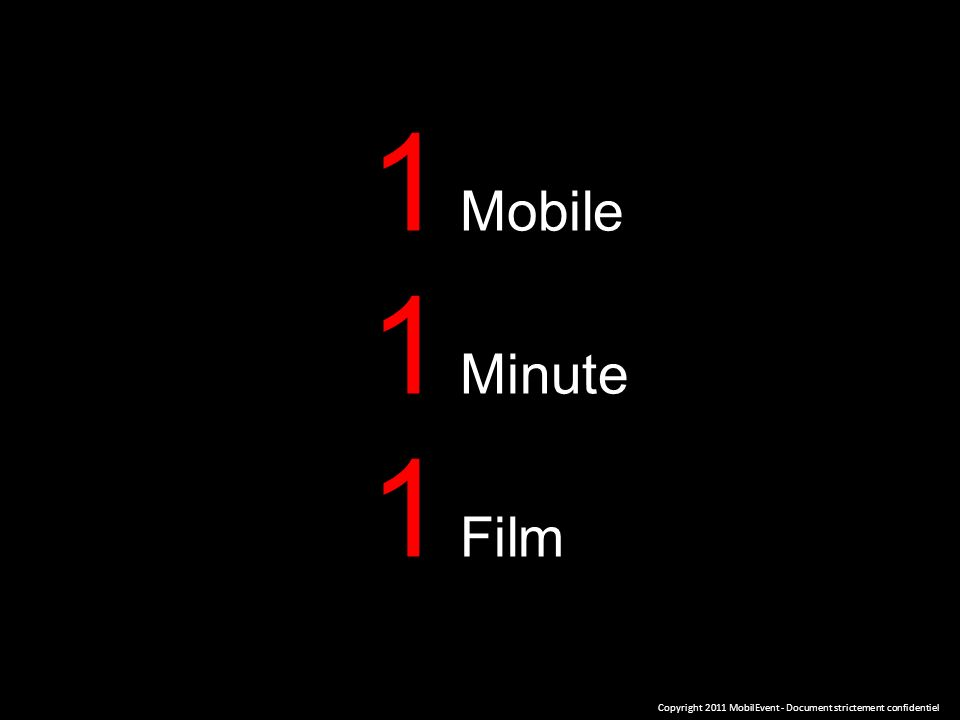 1 Mobile 1 Minute 1 Film Copyright 2011 MobilEvent - Document strictement confidentiel