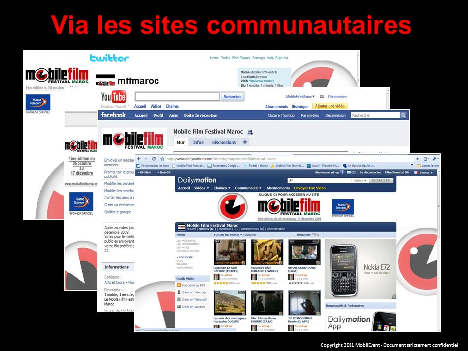 Via les sites communautaires Copyright 2011 MobilEvent - Document strictement confidentiel