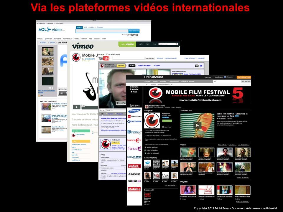 Via les plateformes vidéos internationales Copyright 2011 MobilEvent - Document strictement confidentiel