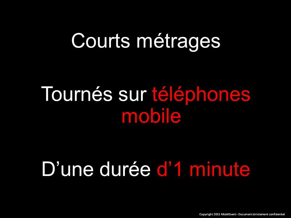 Courts métrages Tournés sur téléphones mobile Dune durée d1 minute Copyright 2011 MobilEvent - Document strictement confidentiel