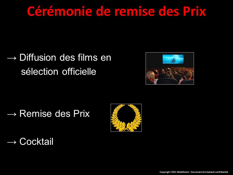 Cérémonie de remise des Prix Diffusion des films en sélection officielle Remise des Prix Cocktail Copyright 2011 MobilEvent - Document strictement confidentiel