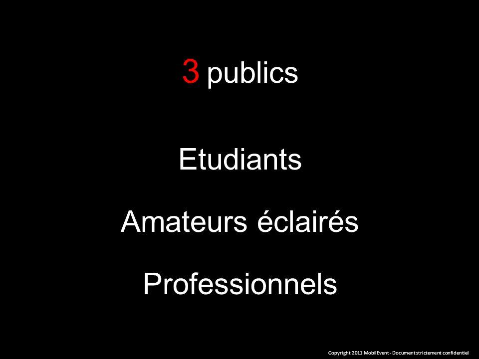 3 publics Etudiants Amateurs éclairés Professionnels Copyright 2011 MobilEvent - Document strictement confidentiel