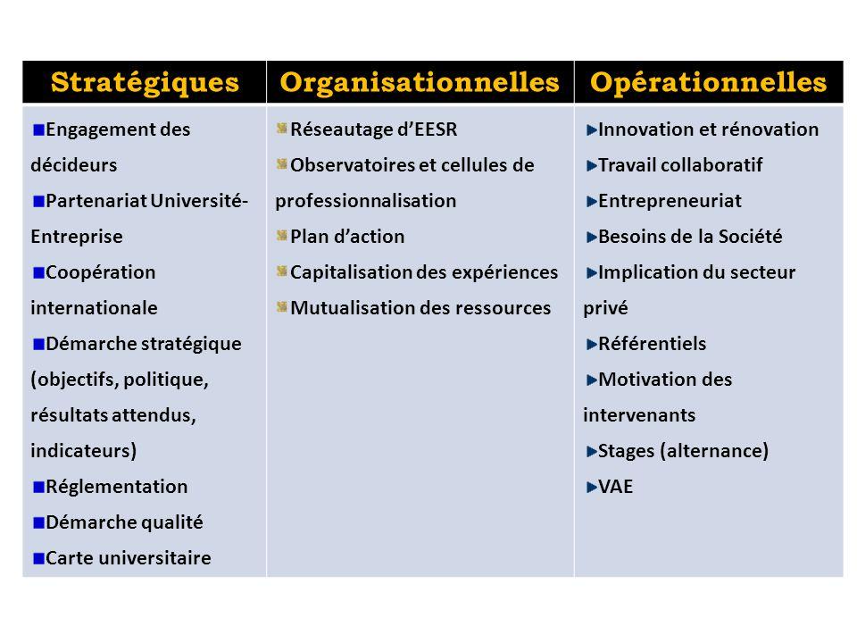 StratégiquesOrganisationnellesOpérationnelles Engagement des décideurs Partenariat Université- Entreprise Coopération internationale Démarche stratégi
