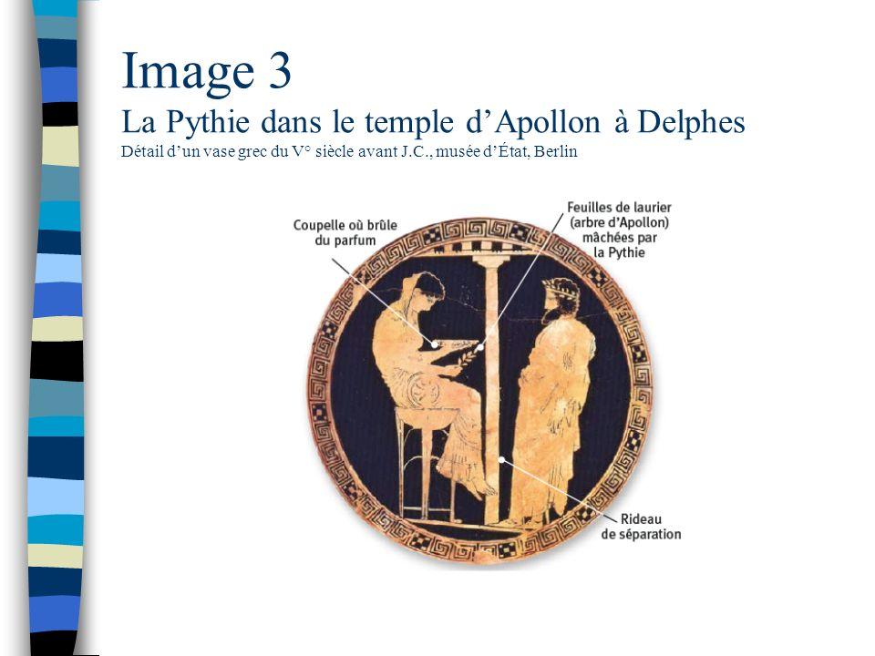 Image 3 La Pythie dans le temple dApollon à Delphes Détail dun vase grec du V° siècle avant J.C., musée dÉtat, Berlin