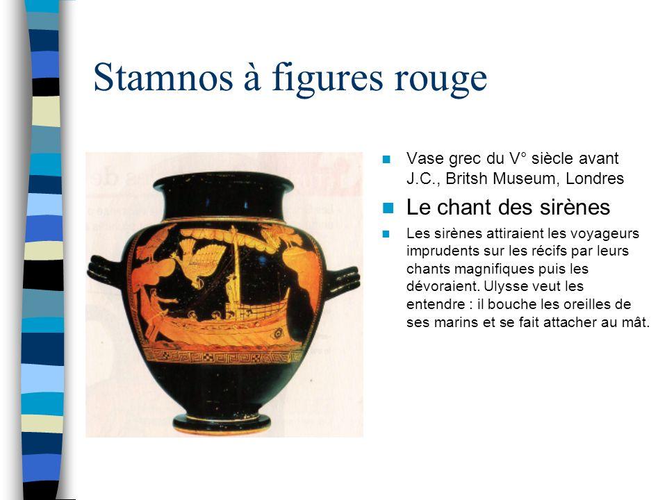 Stamnos à figures rouge Vase grec du V° siècle avant J.C., Britsh Museum, Londres Le chant des sirènes Les sirènes attiraient les voyageurs imprudents sur les récifs par leurs chants magnifiques puis les dévoraient.