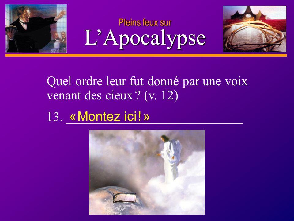 D anie l Pleins feux sur 21 LApocalypse Pleins feux sur Quel ordre leur fut donné par une voix venant des cieux ? (v. 12) 13. ________________________