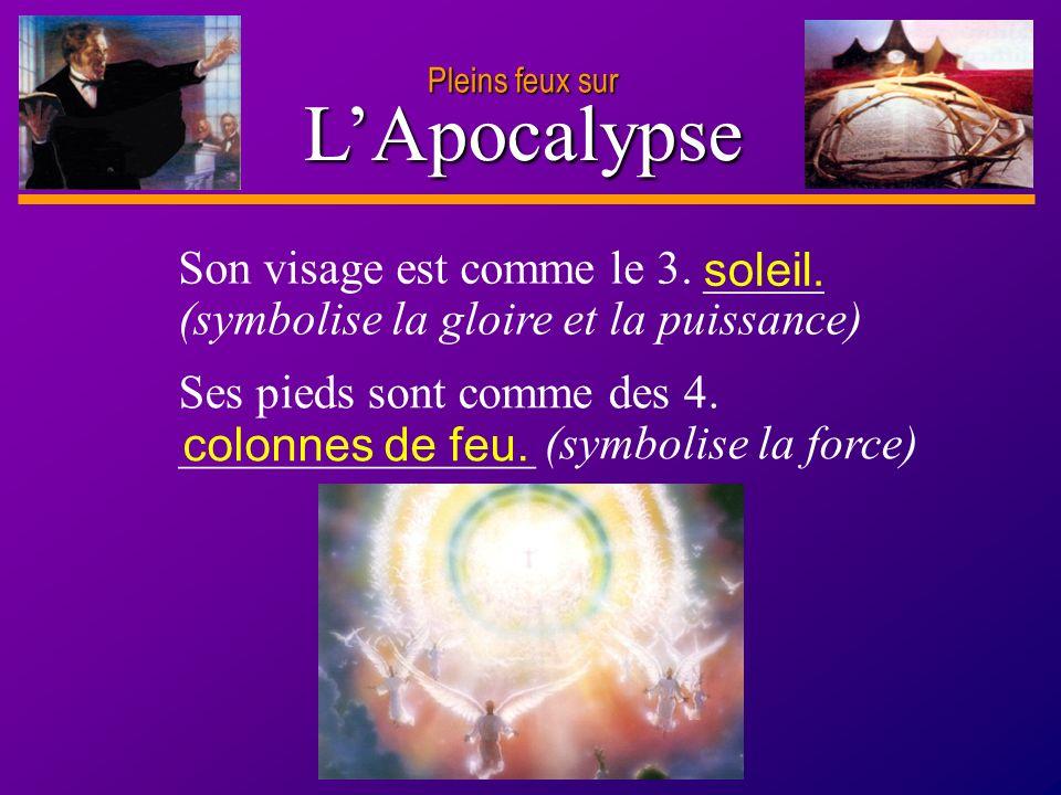D anie l Pleins feux sur 4 LApocalypse Son visage est comme le 3. _____ (symbolise la gloire et la puissance) Ses pieds sont comme des 4. ____________