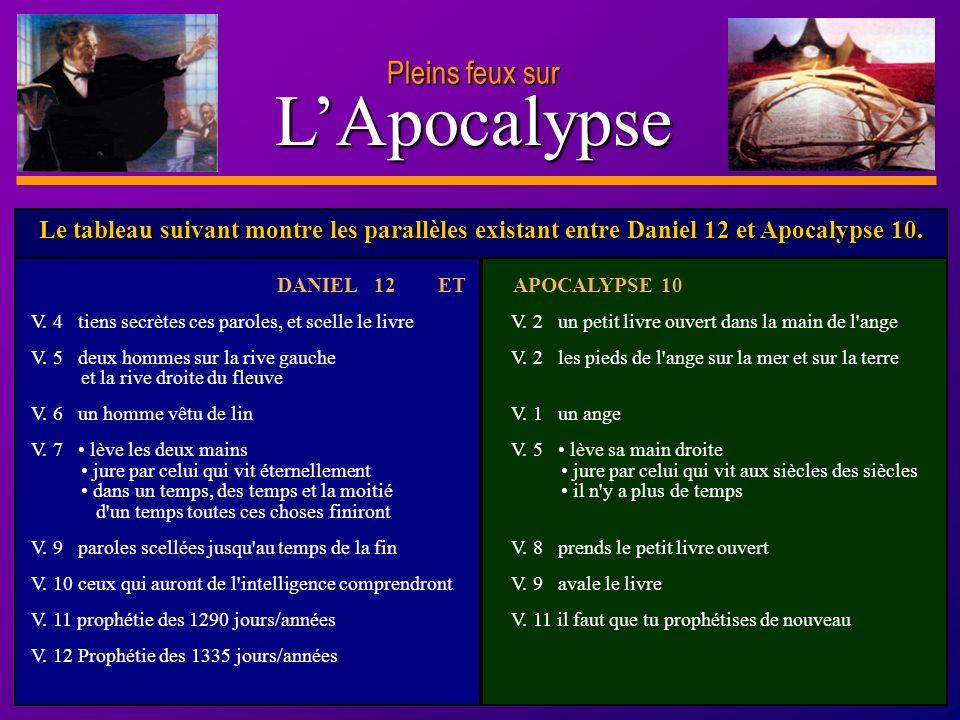D anie l Pleins feux sur 6 LApocalypse DANIEL 12 ET APOCALYPSE 10 V. 4 tiens secrètes ces paroles, et scelle le livreV. 2 un petit livre ouvert dans l