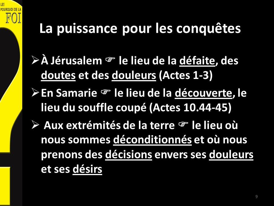 La puissance pour les conquêtes À Jérusalem le lieu de la défaite, des doutes et des douleurs (Actes 1-3) En Samarie le lieu de la découverte, le lieu