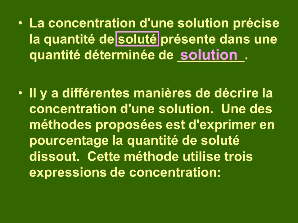 La concentration d'une solution précise la quantité de soluté présente dans une quantité déterminée de _________. Il y a différentes manières de décri