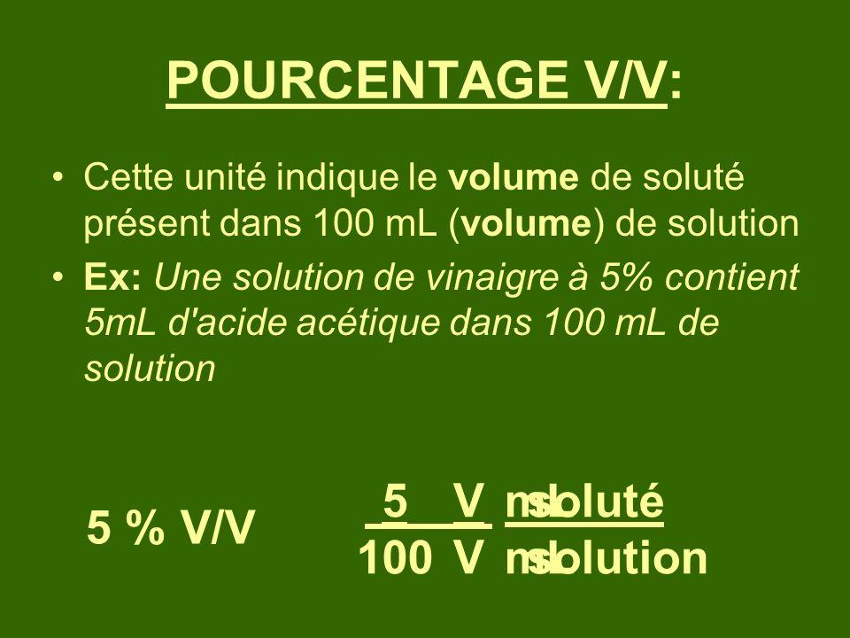 POURCENTAGE V/V: Cette unité indique le volume de soluté présent dans 100 mL (volume) de solution Ex: Une solution de vinaigre à 5% contient 5mL d'aci