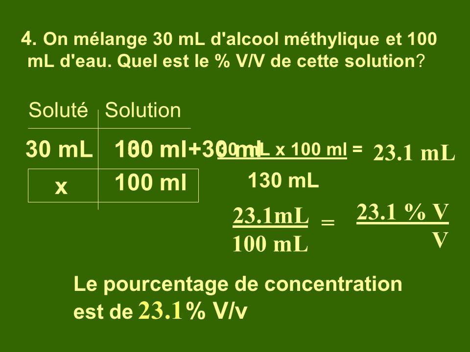 4. On mélange 30 mL d'alcool méthylique et 100 mL d'eau. Quel est le % V/V de cette solution? Soluté Solution 30 mL x 100 ml 30 mL x 100 ml = 130 mL L