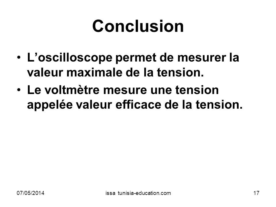Conclusion Loscilloscope permet de mesurer la valeur maximale de la tension. Le voltmètre mesure une tension appelée valeur efficace de la tension. 07