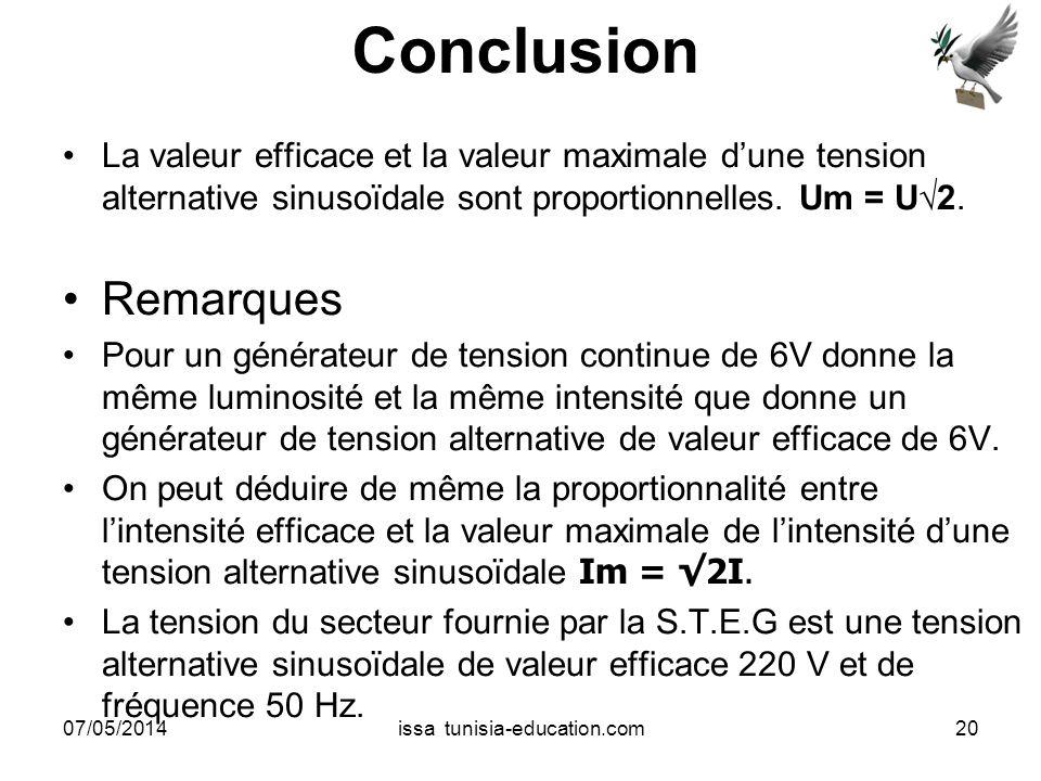 Conclusion La valeur efficace et la valeur maximale dune tension alternative sinusoïdale sont proportionnelles. Um = U2. Remarques Pour un générateur