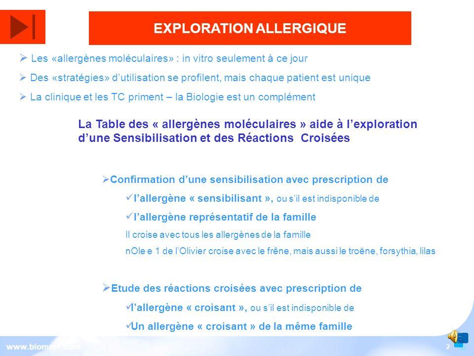 2 www.biomnis.com EXPLORATION ALLERGIQUE La Table des « allergènes moléculaires » aide à lexploration dune Sensibilisation et des Réactions Croisées Confirmation dune sensibilisation avec prescription de lallergène « sensibilisant », ou sil est indisponible de lallergène représentatif de la famille Il croise avec tous les allergènes de la famille nOle e 1 de lOlivier croise avec le frêne, mais aussi le troëne, forsythia, lilas Etude des réactions croisées avec prescription de lallergène « croisant », ou sil est indisponible de Un allergène « croisant » de la même famille Les «allergènes moléculaires» : in vitro seulement à ce jour Des «stratégies» dutilisation se profilent, mais chaque patient est unique La clinique et les TC priment – la Biologie est un complément