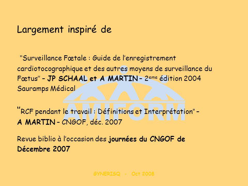 GYNERISQ - Oct 2008 Largement inspiré de Surveillance Fœtale : Guide de lenregistrement cardiotocographique et des autres moyens de surveillance du Fœ