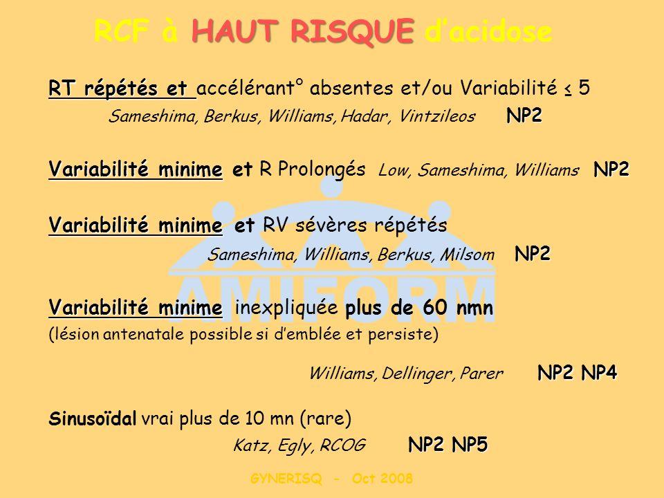 GYNERISQ - Oct 2008 HAUT RISQUE RCF à HAUT RISQUE dacidose RT répétés et RT répétés et accélérant° absentes et/ou Variabilité 5 NP2 Sameshima, Berkus,