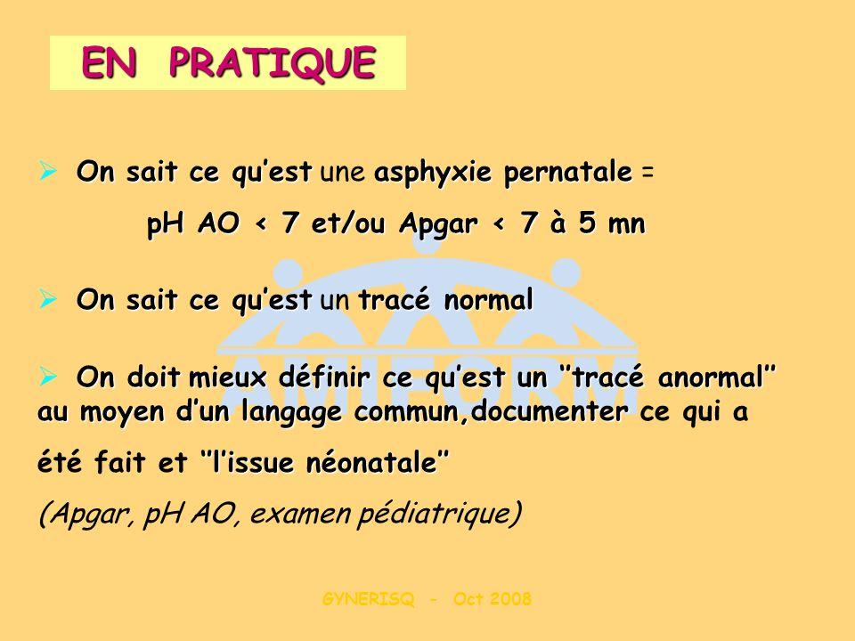 GYNERISQ - Oct 2008 On sait ce questasphyxie pernatale On sait ce quest une asphyxie pernatale = pH AO < 7 et/ou Apgar < 7 à 5 mn On sait ce questtrac