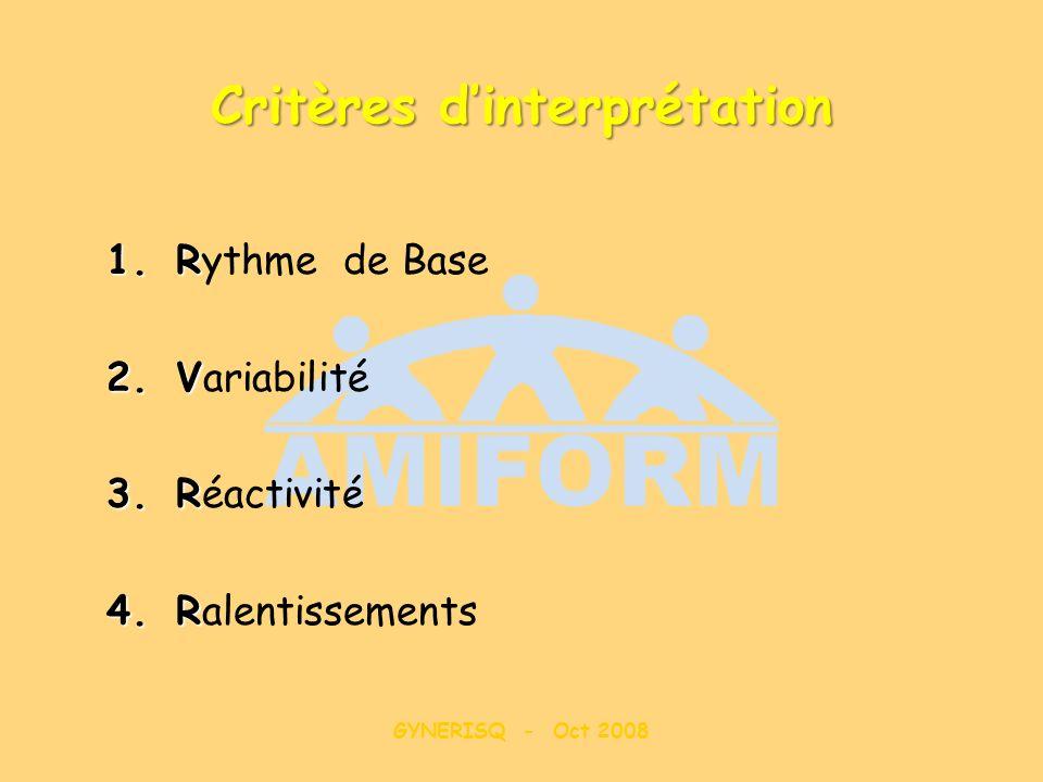 GYNERISQ - Oct 2008 Critères dinterprétation 1.R 1.Rythme de Base 2.V 2.Variabilité 3.R 3.Réactivité 4.R 4.Ralentissements
