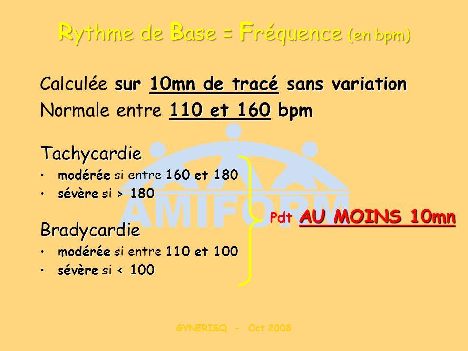 GYNERISQ - Oct 2008 R ythme de B ase = F réquence (en bpm) sur 10mn de tracé sans variation Calculée sur 10mn de tracé sans variation 110 et 160 bpm N