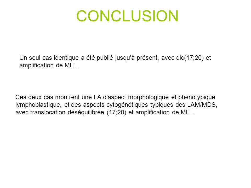 CONCLUSION Un seul cas identique a été publié jusquà présent, avec dic(17;20) et amplification de MLL.