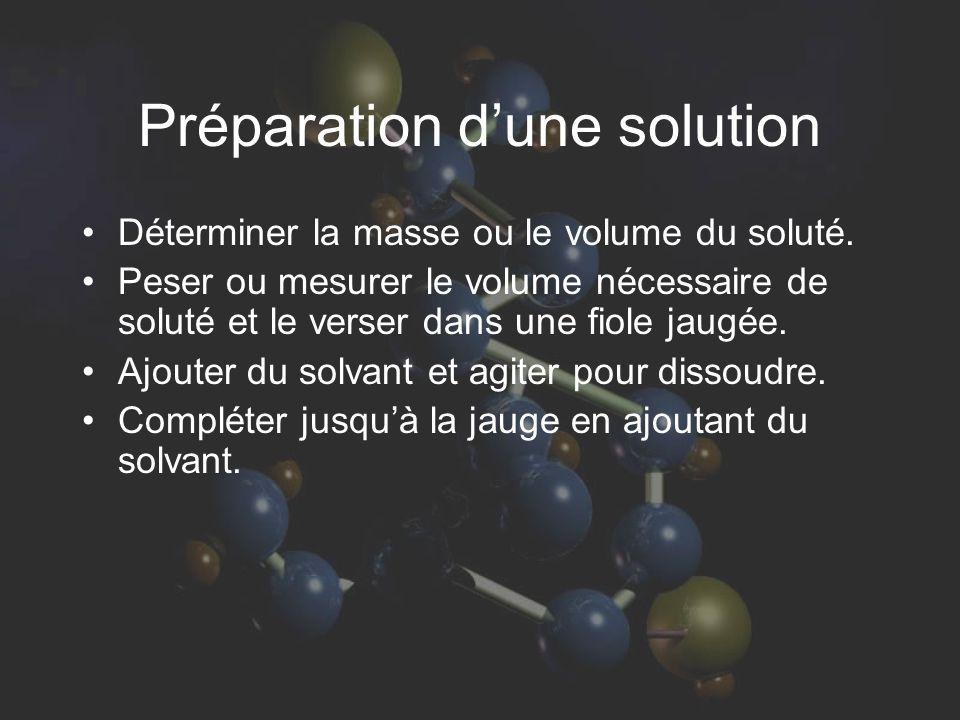 Préparation dune solution Déterminer la masse ou le volume du soluté.