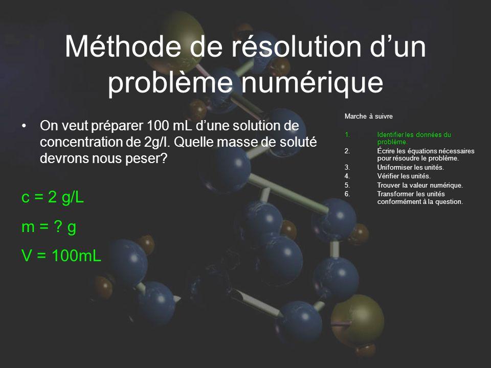 Méthode de résolution dun problème numérique Marche à suivre 1.