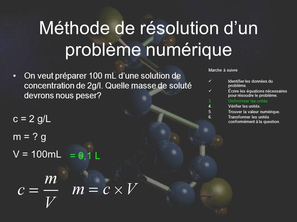 Méthode de résolution dun problème numérique On veut préparer 100 mL dune solution de concentration de 2g/l.