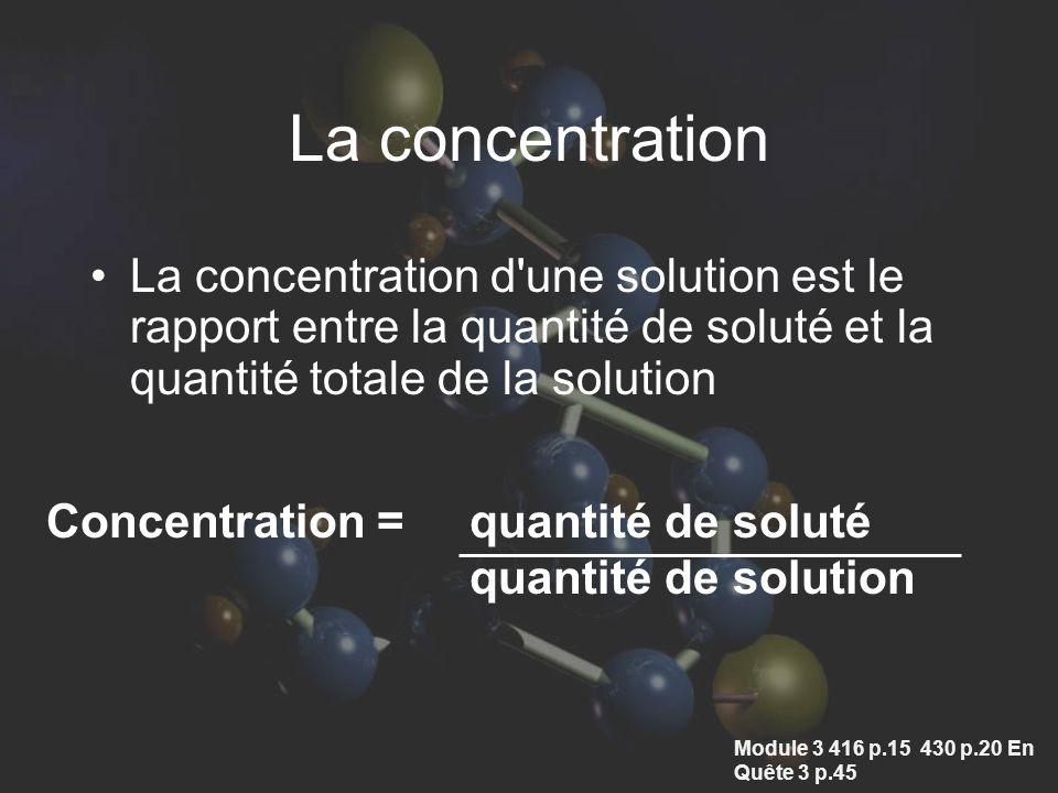 La concentration La concentration d une solution est le rapport entre la quantité de soluté et la quantité totale de la solution Concentration = quantité de soluté quantité de solution Module 3 416 p.15 430 p.20 En Quête 3 p.45