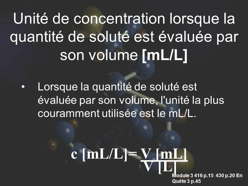 Unité de concentration lorsque la quantité de soluté est évaluée par son volume [mL/L] Lorsque la quantité de soluté est évaluée par son volume, l unité la plus couramment utilisée est le mL/L.