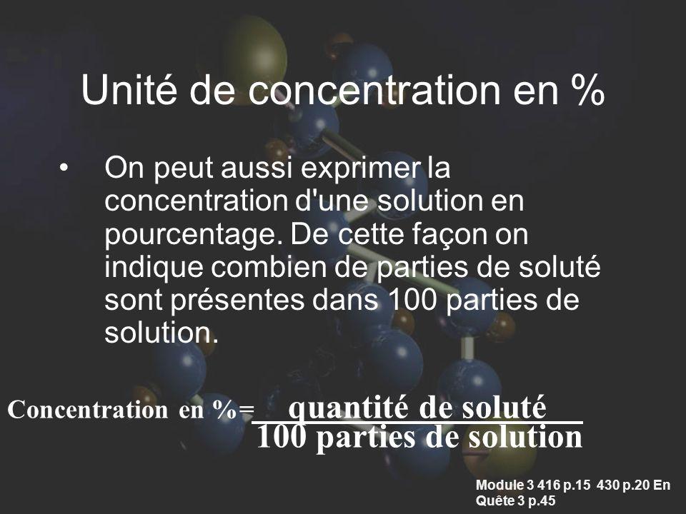 Unité de concentration en % On peut aussi exprimer la concentration d une solution en pourcentage.
