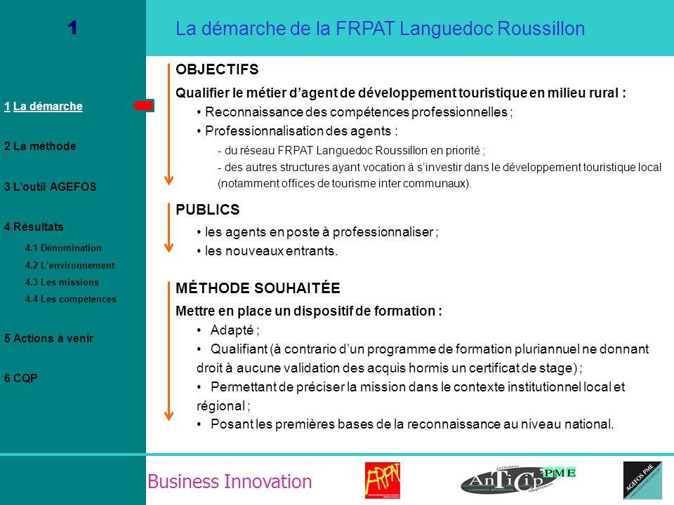 Business Innovation 4.3 Résultat / La fiche de fonction / Missions 1 La démarche 2 La méthode 3 Loutil AGEFOS 4 Résultats 4.1 Dénomination 4.2 Lenvironnement 4.3 Les missions 4.4 Les compétences 5 Actions à venir 6 CQP