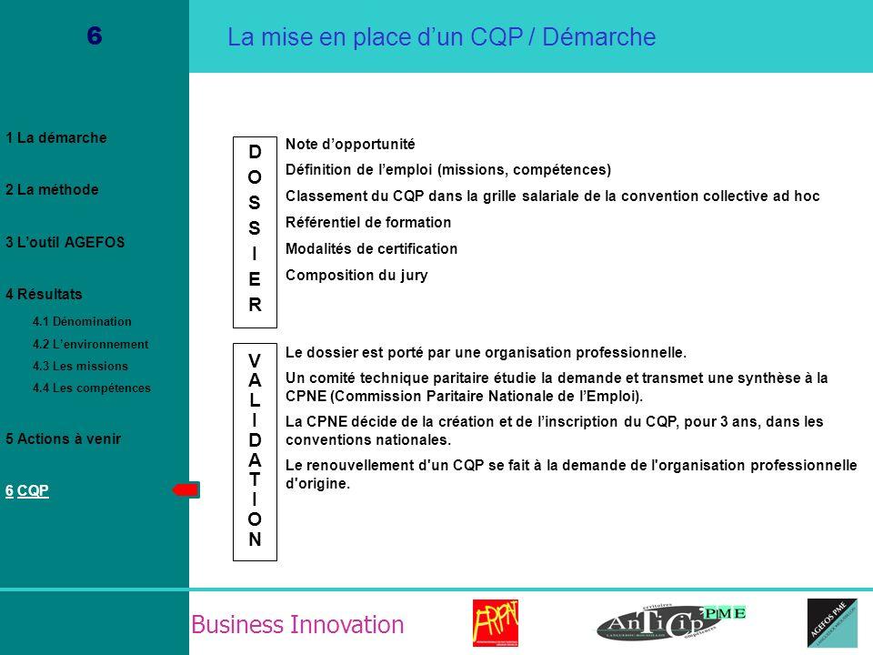 Business Innovation 6 Note dopportunité Définition de lemploi (missions, compétences) Classement du CQP dans la grille salariale de la convention coll