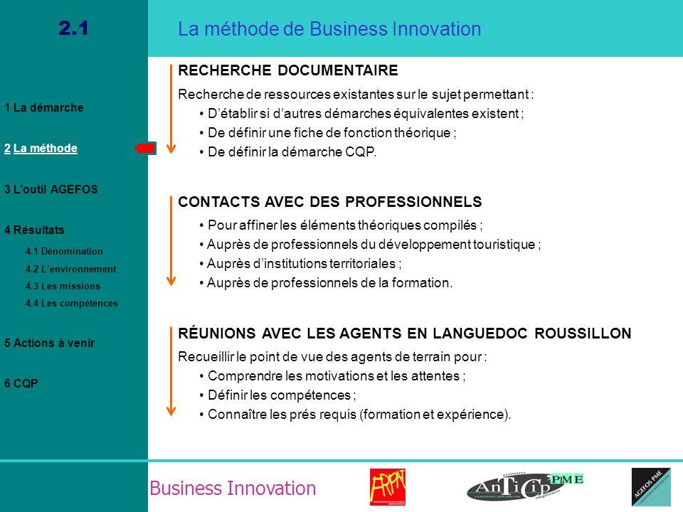 Business Innovation 2.1 La méthode de Business Innovation RECHERCHE DOCUMENTAIRE Recherche de ressources existantes sur le sujet permettant : Détablir