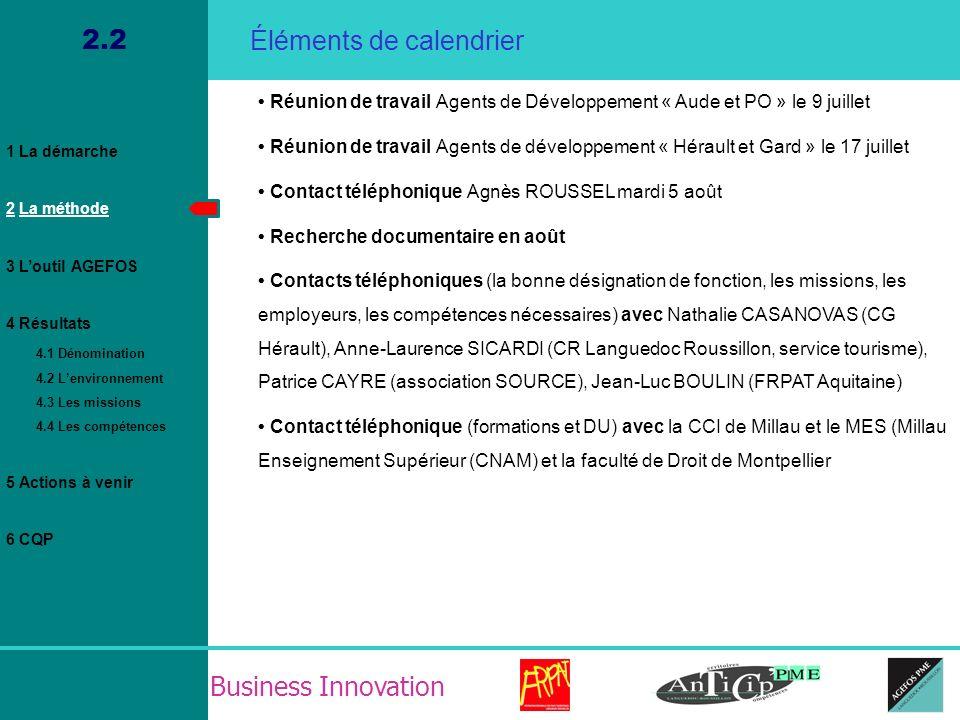 Business Innovation 2.2 2 Réunions de travail avec les Agents de Développement ont eu lieu en juillet « Aude et PO » le 9 juillet « Hérault et Gard » le 17 juillet Il en ressort : Un besoin de se rencontrer Un problème didentification et de reconnaissance (le titre « agent de développement » ne plait pas.