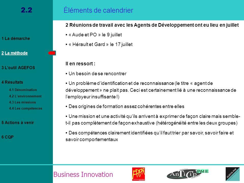 Business Innovation 4.4 Résultat / La fiche de fonction / Savoirs comportementaux 1 La démarche 2 La méthode 3 Loutil AGEFOS 4 Résultats 4.1 Dénomination 4.2 Lenvironnement 4.3 Les missions 4.4 Les compétences 5 Actions à venir 6 CQP