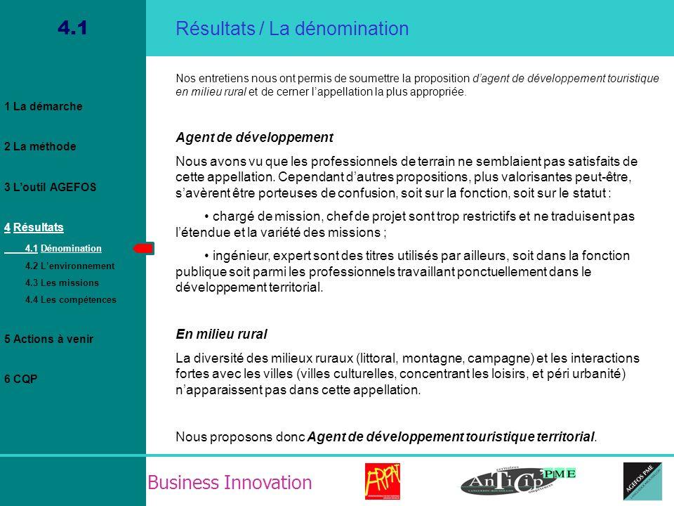 Business Innovation 4.2 Agent de développement Touristique en milieu rural Employeurs (pays, territoires, parcs, CDT, EPCI) Instances techniques Collectivités publiques (communes, départements) Instances de pilotage Résultats / Lenvironnement professionnel Prestataires privés Prestataires publics TERRITOIRE Région, État, Europe Résidents Touristes 1 La démarche 2 La méthode 3 Loutil AGEFOS 4 Résultats 4.1 Dénomination 4.2 Lenvironnement 4.3 Les missions 4.4 Les compétences 5 Actions à venir 6 CQP