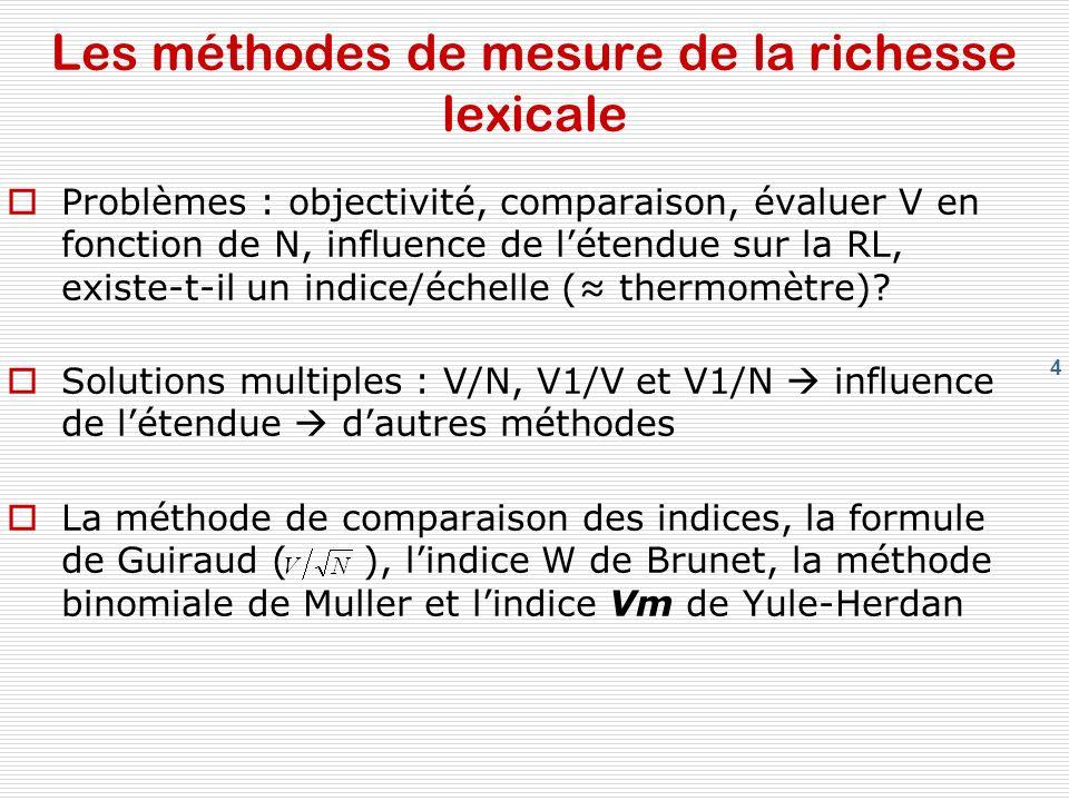4 Les méthodes de mesure de la richesse lexicale Problèmes : objectivité, comparaison, évaluer V en fonction de N, influence de létendue sur la RL, ex