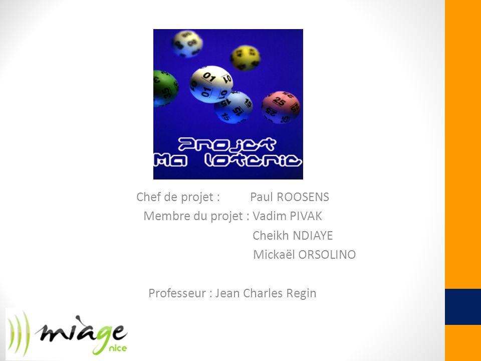 Chef de projet : Paul ROOSENS Membre du projet : Vadim PIVAK Cheikh NDIAYE Mickaël ORSOLINO Professeur : Jean Charles Regin