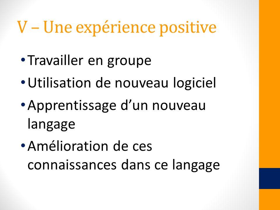 V – Une expérience positive Travailler en groupe Utilisation de nouveau logiciel Apprentissage dun nouveau langage Amélioration de ces connaissances d