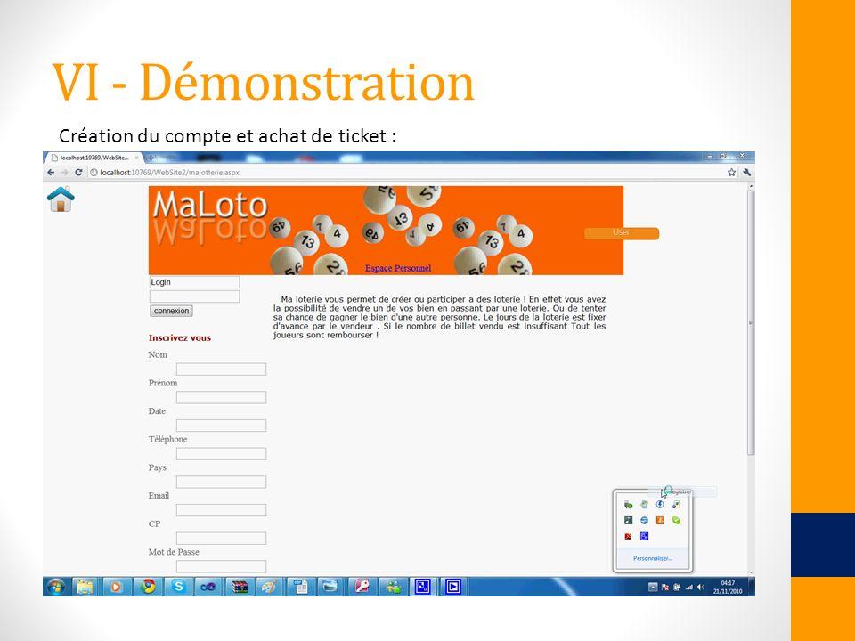 VI - Démonstration Création du compte et achat de ticket :