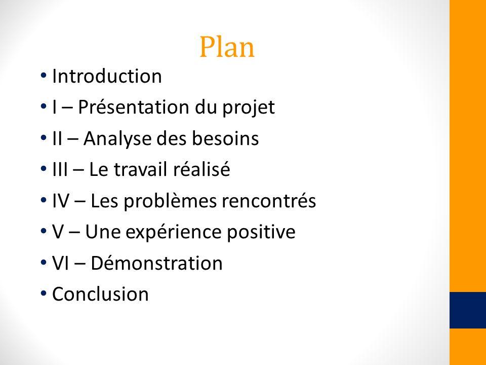Plan Introduction I – Présentation du projet II – Analyse des besoins III – Le travail réalisé IV – Les problèmes rencontrés V – Une expérience positi
