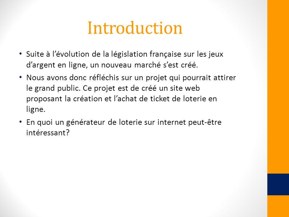 Introduction Suite à lévolution de la législation française sur les jeux dargent en ligne, un nouveau marché sest créé. Nous avons donc réfléchis sur
