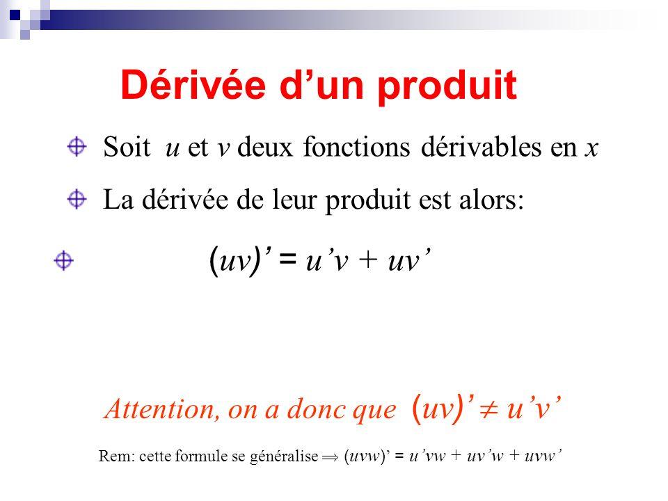 Dérivée dun produit Soit u et v deux fonctions dérivables en x La dérivée de leur produit est alors: Attention, on a donc que ( uv ) uv ( uv ) = uv +