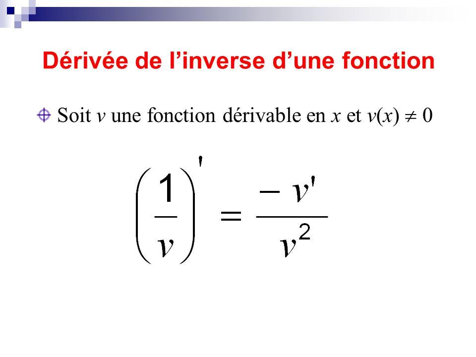 Dérivée de linverse dune fonction Soit v une fonction dérivable en x et v(x) 0