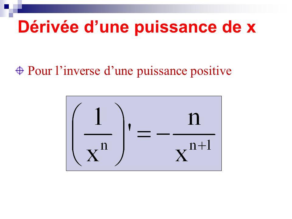 Dérivée dune puissance de x Pour linverse dune puissance positive