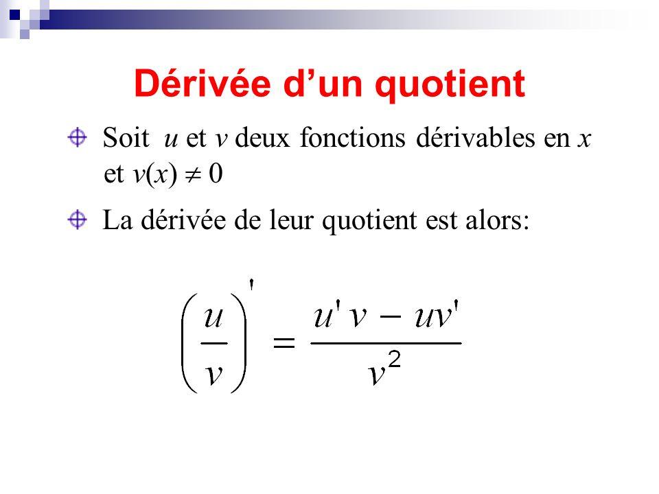 Dérivée dun quotient Soit u et v deux fonctions dérivables en x et v(x) 0 La dérivée de leur quotient est alors: