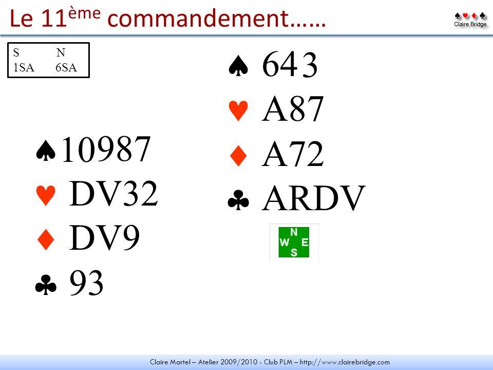 Claire Martel – Atelier 2009/2010 - Club PLM – http://www.clairebridge.com Le 11 ème commandement…… - 987 DV DV9 - - 64 - A87 A72 - - 10 S N 1SA 6SA 4 32 D V
