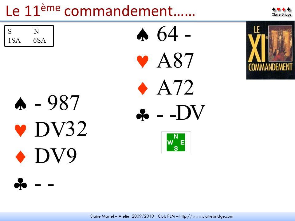 Claire Martel – Atelier 2009/2010 - Club PLM – http://www.clairebridge.com Le 11 ème commandement…… - 987 DV DV - - 64 - A87 A72 - - - 2 S N 1SA 6SA 2 2 9 V