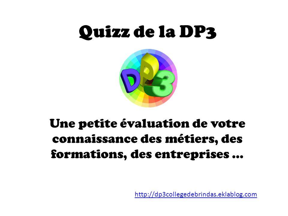 Quizz de la DP3 Une petite évaluation de votre connaissance des métiers, des formations, des entreprises … http://dp3collegedebrindas.eklablog.com